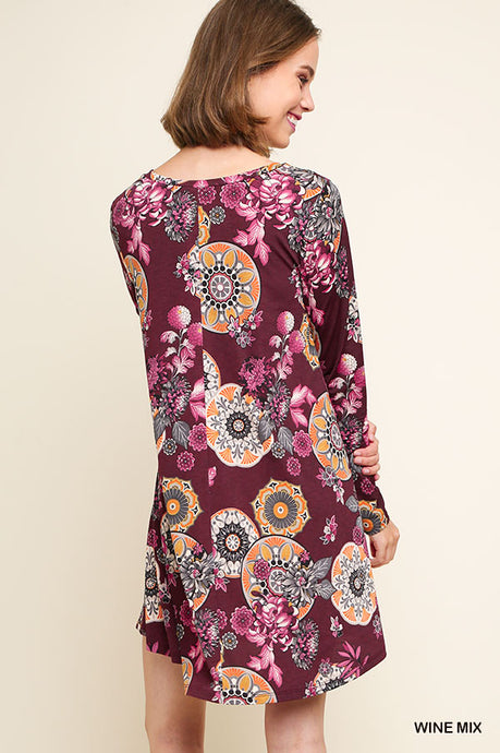 Umgee Wine Mix Long Sleeve Floral Print Dress