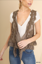 Load image into Gallery viewer, Umgee Taupe Knit Crochet Vest