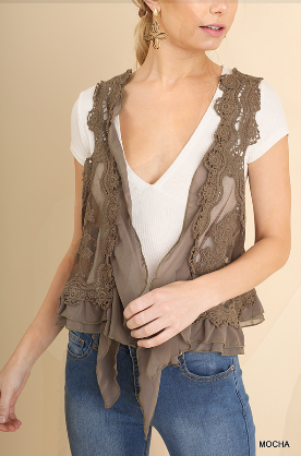 Umgee Taupe Knit Crochet Vest