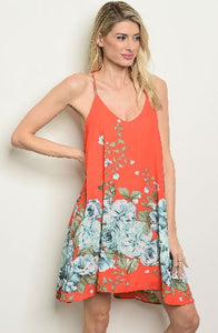 Coral Print Spaghetti Strap Dress