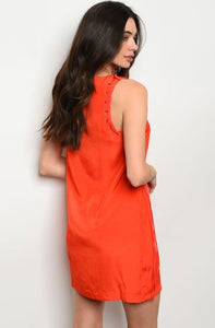 Tomato Dress with Side Lacing Detail