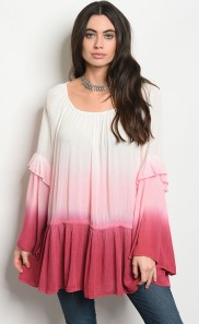 Ivory and Mauve Ombre Long Bell Sleeve Scoop Neck Tunic