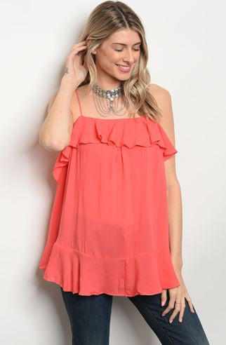 Coral Spaghetti Strap Top with Ruffled Accents