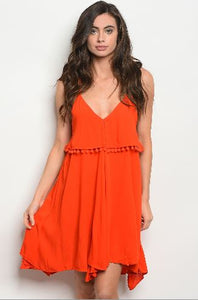 Orange Spaghetti Strap Dress with Tassel Trim