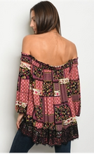 Load image into Gallery viewer, Long Sleeve Off the Shoulder Multi Color Top