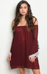 Maroon Off the Shoulder Dress With Lace Trimmed Bell Sleeves