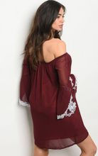 Load image into Gallery viewer, Maroon Off the Shoulder Dress With Lace Trimmed Bell Sleeves
