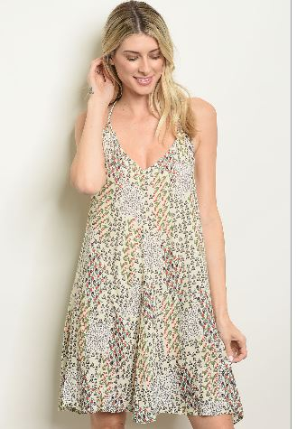 Cream Flower Print Dress with Strappy Beaded Back