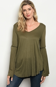 Olive Long Bell Sleeve V-Neck Jersey Top with Sleeve Tie Accents