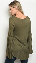 Load image into Gallery viewer, Olive Long Bell Sleeve V-Neck Jersey Top with Sleeve Tie Accents