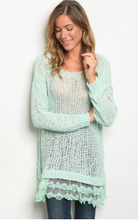 Load image into Gallery viewer, Mint Long Flowy Sweater  With Lace Hemline