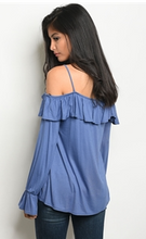 Load image into Gallery viewer, Indigo Long Bell Sleeve Cold Shoulder Knit Top
