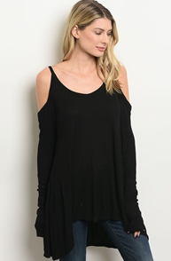 Black Ribbed Knit Lightweight Cold Shoulder Top