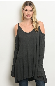 Charcoal Ribbed Knit Cold Shoulder Top