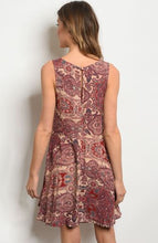 Load image into Gallery viewer, Burgundy and Taupe Paisley Dress