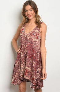Burgundy and Taupe Paisley Dress