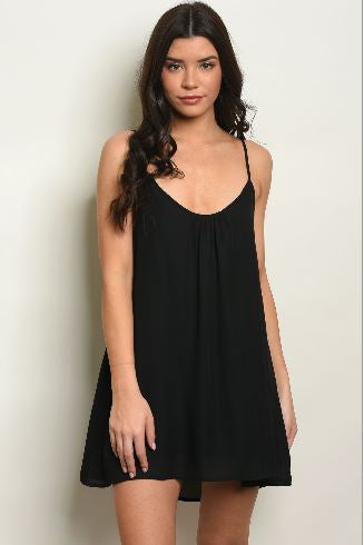 Black Spaghetti Strap Dress with Woven Back