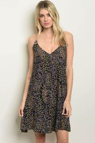 Black Flower Print Dress with Strappy Beaded Back