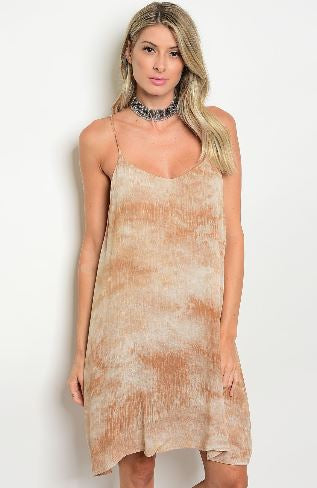 Taupe and Beige Tie Dye Dress
