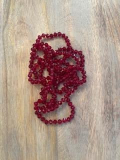 Crimson Iridescent Crystal Bead Necklace