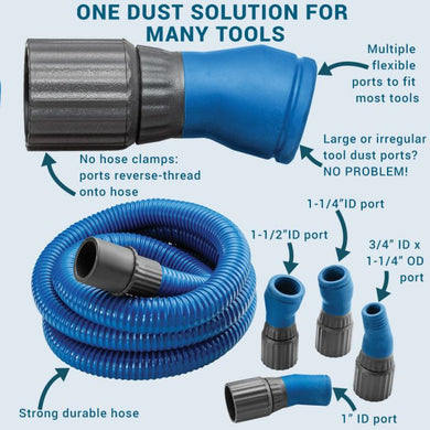 Dust Right FlexiPort Power Tool Hose Kit, 12' Fixed-Length