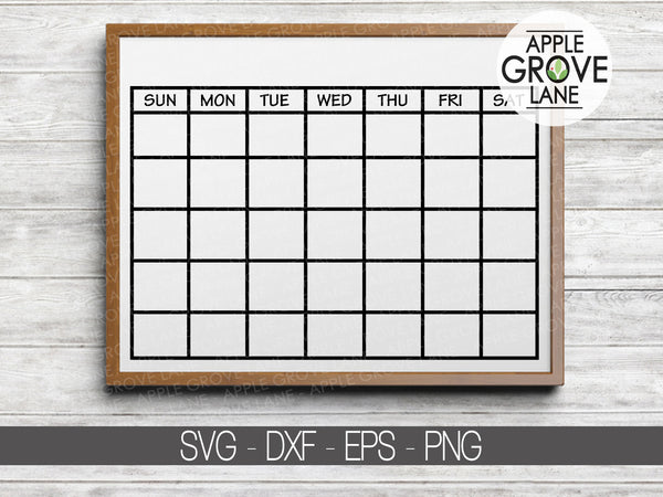 Calendar Svg - Blank Calendar Svg - Monthly Calendar Svg - Calendar Outline Svg - Days of Week Svg - Svg Eps Png Dxf