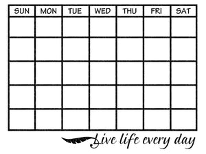 Monthly Calendar Svg - Life Live Every Day Svg - Calendar Outline Svg - Blank Calendar Svg - Days of Week Svg - Svg Eps Png Dxf