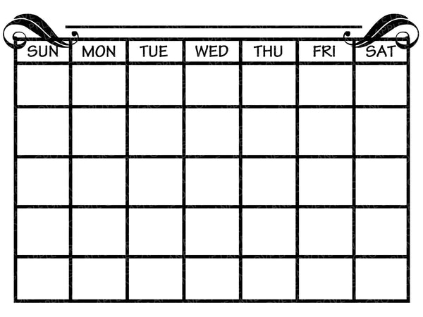 Blank Calendar Svg - Monthly Calendar Svg - Calendar Outline Svg - Days of Week Svg - Svg Eps Png Dxf