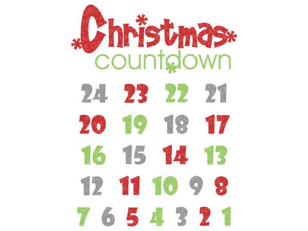 Christmas Countdown Svg - Christmas Calendar Svg - Holiday Calendar Svg - Christmas Svg Eps Png Dxf