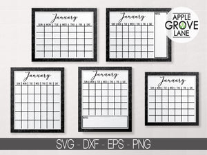 Blank Calendar Svg Bundle - Monthly Calendar Svg - Calendar Outline Svg - Calendar Svg Set - Svg Eps Png Dxf