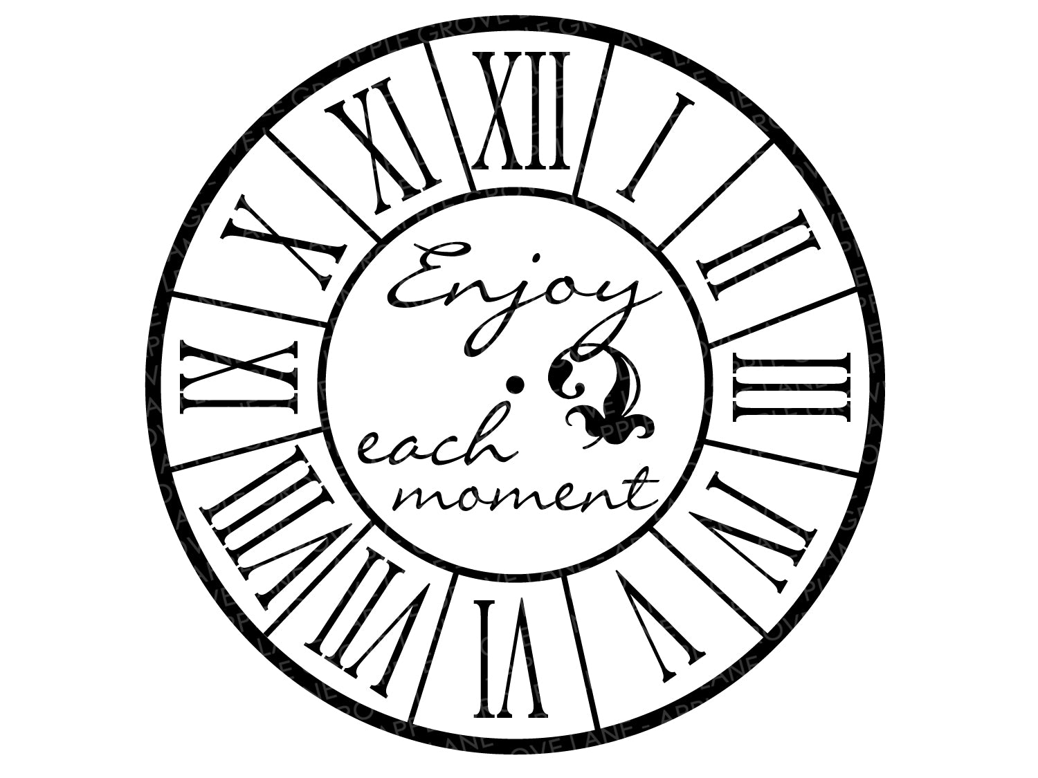 Roman Numeral Clock Svg - Clock Svg - Clock Face Svg - Svg Template - Romen Numerals Svg - Clock Stencil - Svg Eps Png Dxf