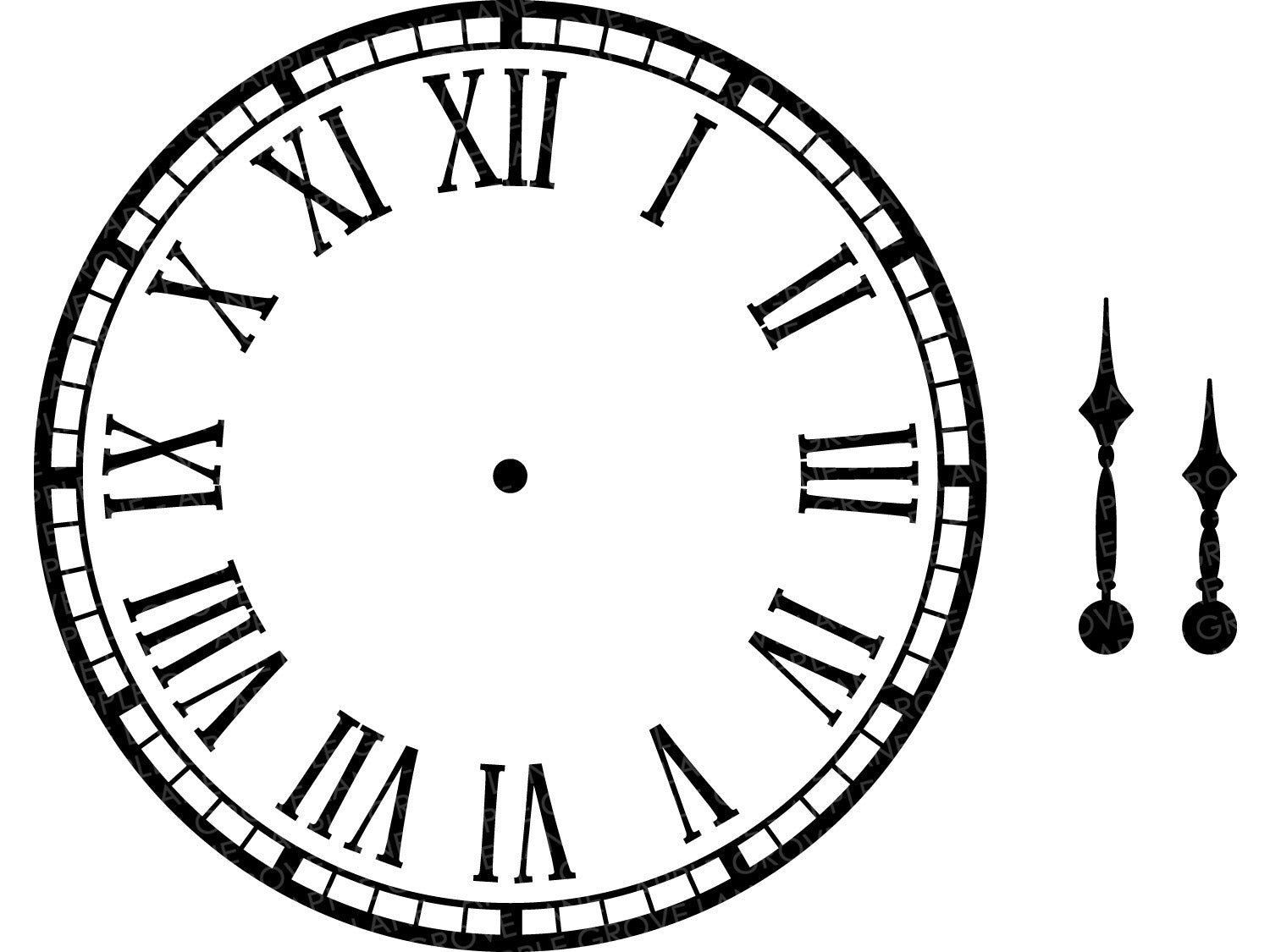 Clock Face Svg - Clock Svg - Clock Hands Svg - Clock Template - Roman Numerals Clock Svg - Roman Numerals - Clock Stencil - Svg Eps Png Dxf