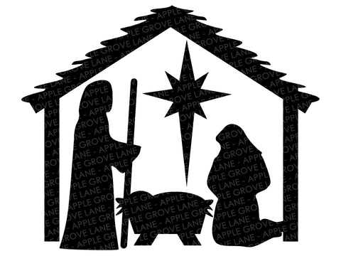 Manger SVG - Nativity Svg - Stable SVG - Christmas Svg - Nativity Clip Art - Nativity Silhouette - Baby Jesus Svg Eps Dxf Png