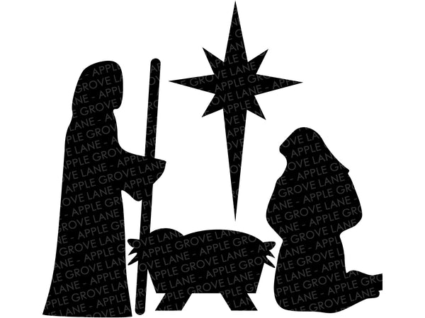Nativity Svg - Manger Svg - Stable SVG - Christmas Svg - Nativity Clip Art - Nativity Silhouette - Baby Jesus Svg Eps Dxf Png