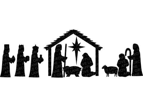 Nativity SVG - Manger Svg - Stable SVG - Christmas Svg - Nativity Clip Art - Nativity Silhouette - Nativity Vector - Svg Eps Dxf Png