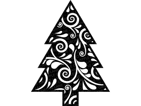 Swirly Tree Svg - Christmas Tree SVG - Swirl Tree Clip Art - Christmas Svg - Floral Tree - Camping SVG - Forest Clipart - Svg Eps Png Dxf