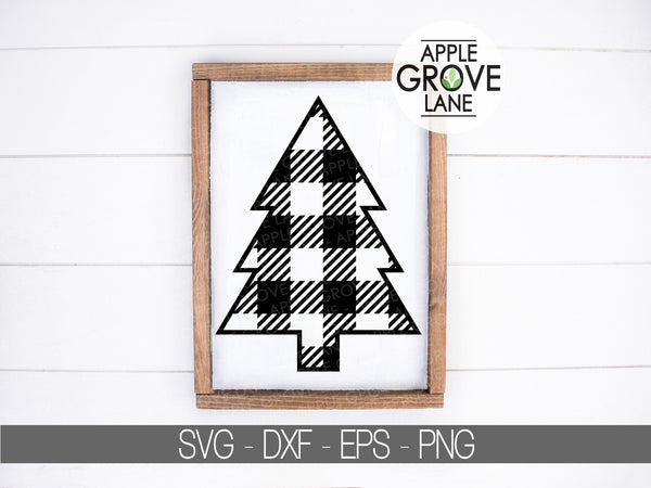 Buffalo Plaid Tree Svg - Christmas Tree SVG - Buffalo Check Tree Svg - Christmas Svg - Tree Clip Art - Camping SVG - Svg Eps Png Dxf