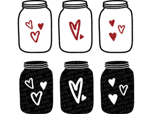 Mason Jar SVG - Valentine SVG - Valentines Day Svg - Heart Jar Svg - Love Svg - Valentine Sign Svg - Valentines Clipart - Svg Eps Dxf Png