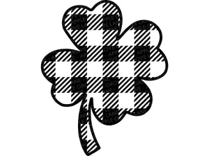 Plaid Shamrock Svg, St Patricks Svg, Four Leaf Clover Svg, St Patrick Shirt Svg, Shamrock Svg, Buffalo Plaid Svg, Clover Svg Eps Dxf Png