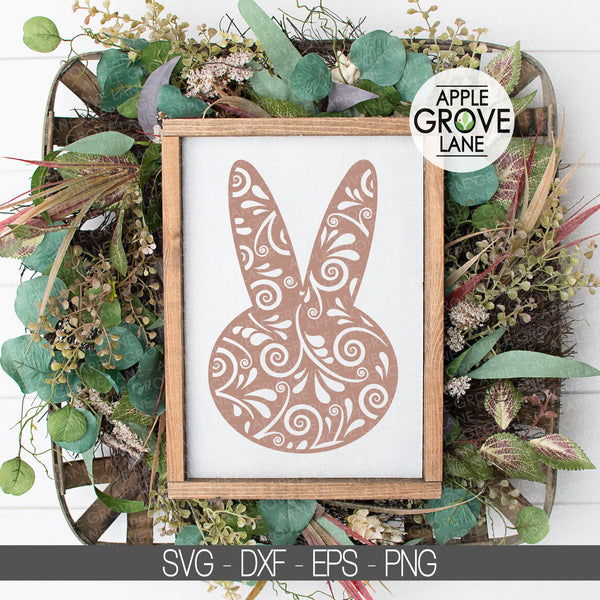 Easter Bunny Svg - Swirly Bunny Svg - Spring Svg - Easter Svg - Spring Shirt Svg - Easter Sign Svg - Spring Clipart - Svg Eps Dxf Png