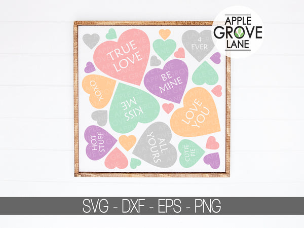 Conversation Hearts Svg - Valentine's Day Svg - Love Svg - Heart Svg - Wedding Svg - Valentine Svg - Svg Eps Dxf Png