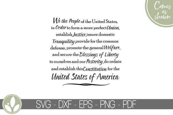 We The People Svg - Constitution Svg - United States Svg - Military Svg - Patriotic Svg - US Constitution Svg - Preamble Svg Eps Dxf Png