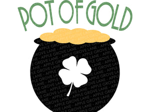 Pot Of Gold Svg - Saint Patricks Day Svg - St. Patricks Svg - Leprechaun Svg - Clover Svg - Kids Shirt Svg - Spring Svg - Svg Eps Dxf Png