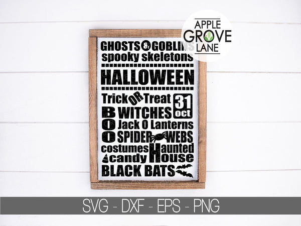 Halloween Svg - Halloween Subway Art - Trick or Treat Svg - Haunted House Svg - Fall Subway Art Svg - Svg Eps Png Dxf