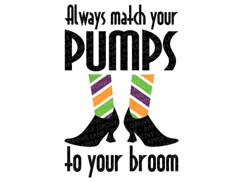 Match Your Pumps Svg - Witch Svg - Halloween Svg - Match Pumps to Broom Svg - Witch Shoes Svg - Svg Eps Dxf Png