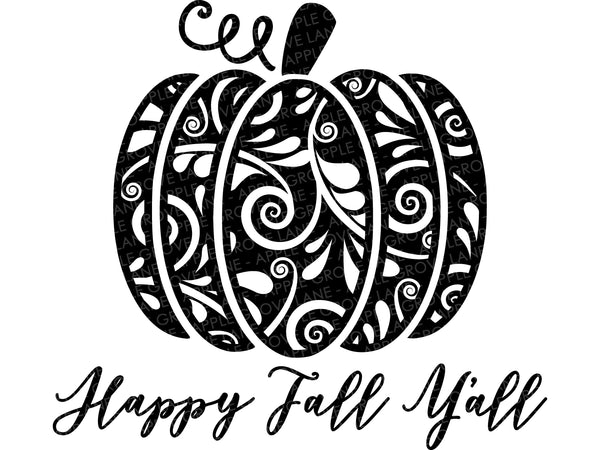 Happy Fall Svg - Swirly Pumpkin SVG - Fall Svg - Fall Ya'll Svg - Fall Pumpkin SVG - Pumpkin Clip Art - Patterned Pumpkin - Svg Eps Png Dxf