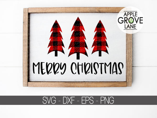 Merry Christmas Svg - Christmas Tree SVG - Buffalo Plaid Svg - Christmas Svg - Plaid Tree SVG - Christmas Clip Art - Svg Eps Png Dxf