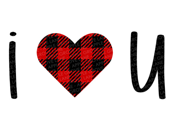 I Heart U Svg - Buffalo Plaid Heart Svg - Valentine Svg - Valentines Day Svg - Valentine Shirt Svg - I Love You Svg - Svg Eps Dxf Png