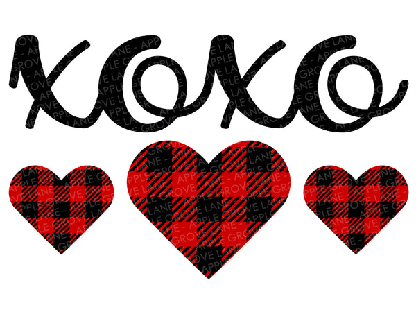 Hugs Kisses Svg - Buffalo Plaid Heart Svg - Valentine Svg - Valentines Day Svg - Valentine Shirt Svg - XOXO Svg - Svg Eps Dxf Png