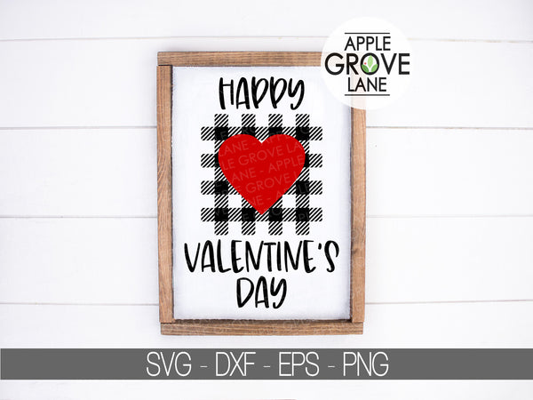 Happy Valentines Day Svg - Buffalo Plaid Heart Svg - Valentine Svg - Valentines Day Svg - Valentine Shirt Svg - Svg Eps Dxf Png